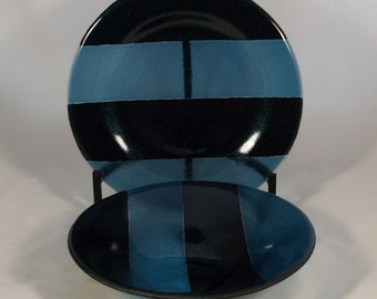 ON SALE!! Fused Glass Blue Bowl and Platter Set