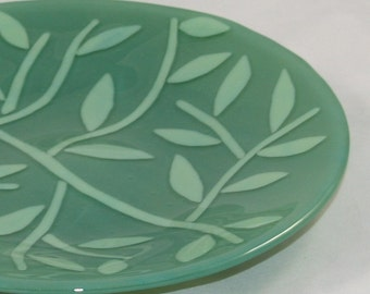 Fused Glass Green Bowl of Leaves