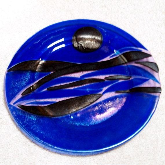 Fused Glass Cobalt Blue Platter