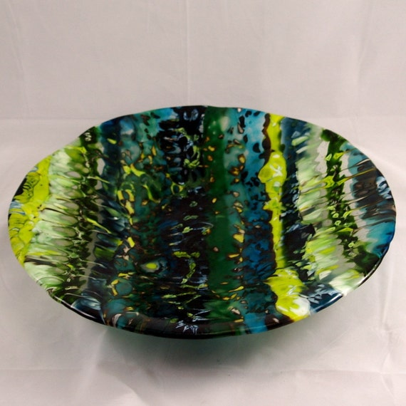 Fused Glass Bowl Boiled Blues and Greens