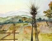 Watercolor Landscape  - Original Painting - Voyage, Voyage II