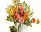 Ikebana Floral Watercolor Original Painting