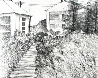 Original Ink Drawing - Neighborhood