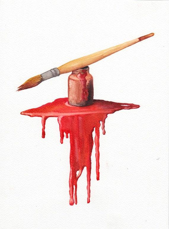 Artist's Brush - Red - original watercolor painting