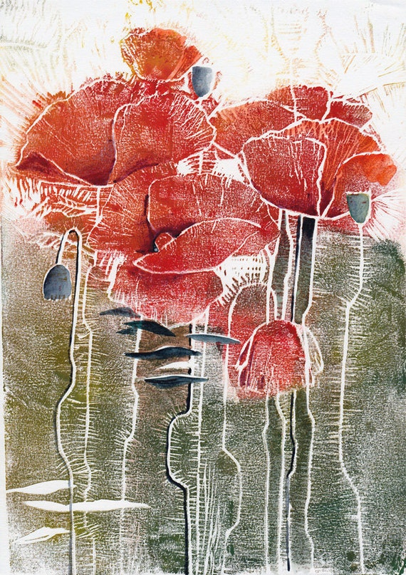 Red Poppies - original linocut watercolor painting / mixed media
