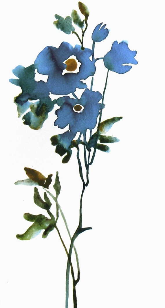 Blue Flower - Minimalist Art Watercolor Original Painting in Blue and Green