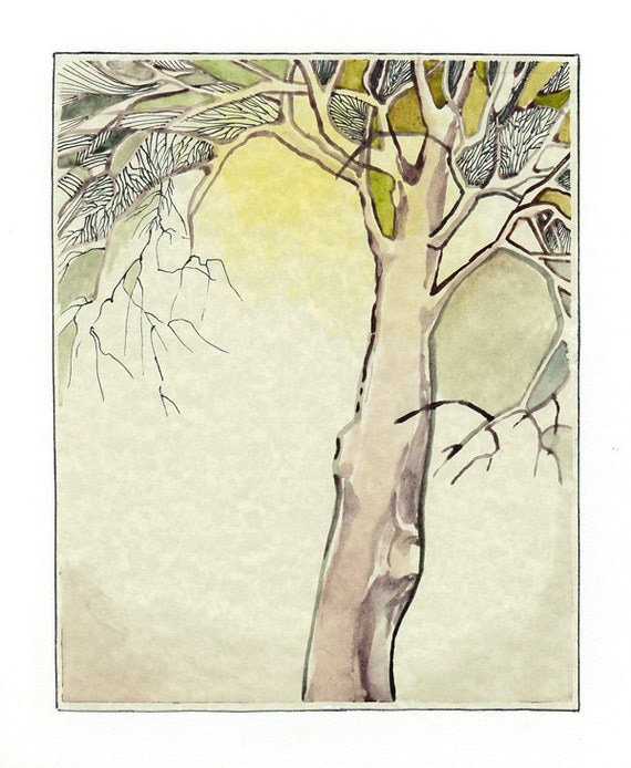 Original Watercolor Fine Art Painting - The Poet's Tree