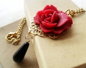 Cherry Red Rose Flower Pendant Necklace, Vintage Inspired, Gold