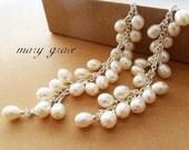 Mermaid's Long Pearl Cascade Earrings - beach bridal OOAK