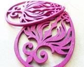 Deep Purple Phoenix Wood Teardrop Earrings