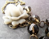 Grey Rose and Smoke Brown Glass Necklace, Vintage Inspired