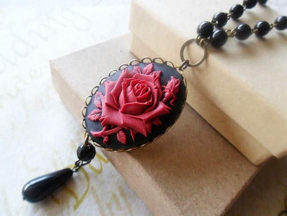 Deep Red Gothic Rose Pendant Necklace