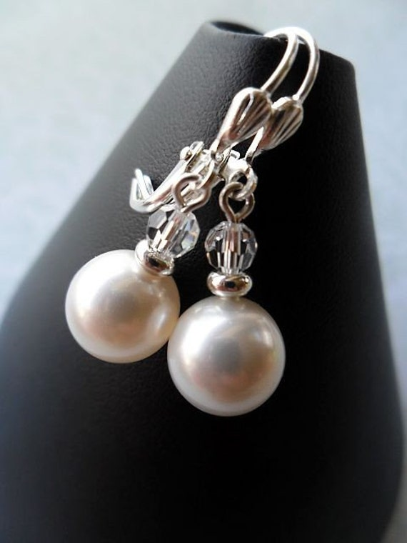 Small Classic Round Pearl Drop Bridal Earrings - swarovski crystals and pearls