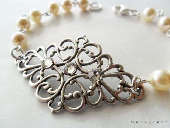 Antique Silver Filigree and Cream Pearl Bridal Bracelet - vintage inspired