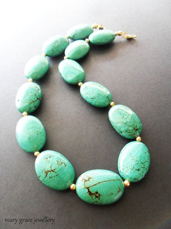 Chunky Turquoise Oval Necklace, Statement, Gemstone, Gold