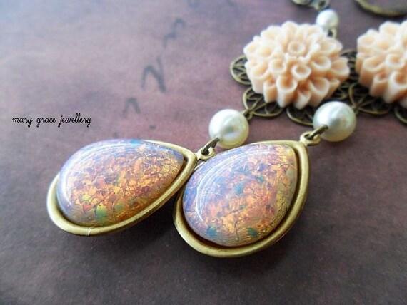 Opal Glass Jewel Earrings with Creamy Flowers