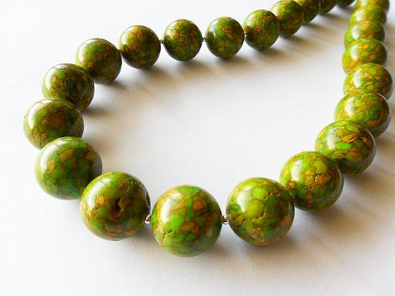 Chunky Apple Green Mosaic Turquoise Necklace, Modern, Statement