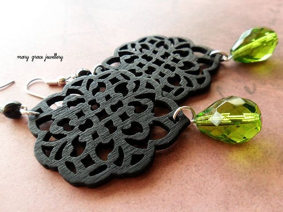 Black Wooden Filigree Earrings with Peridot Green Glass, Gothic, Midieval
