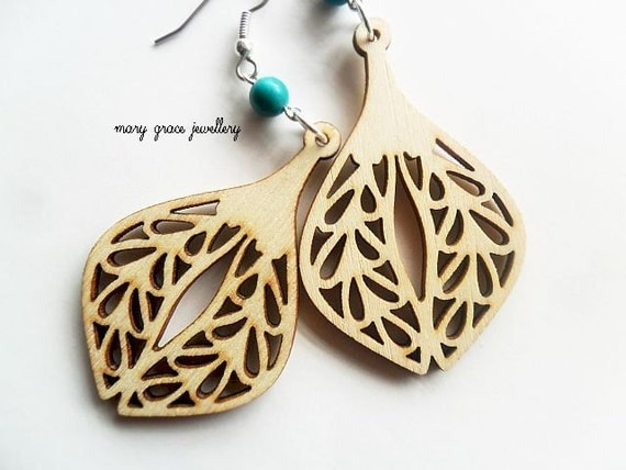 Wooden Earrings, Natural,Turquoise, Bohemian