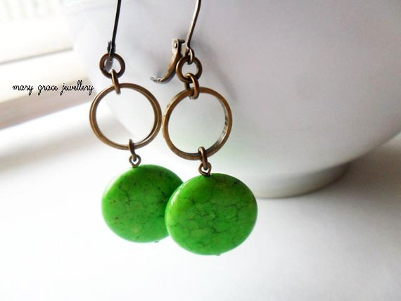 Lime Green Gemstone Earrings, Chunky Coins, Antique Gold Brass