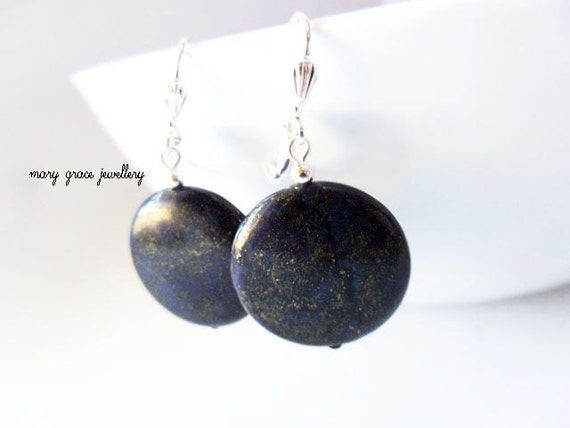 Dark Blue Lapis Coin Earrings, Simple, Modern Jewellery