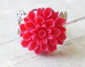 SALE - Fuschia Chrysanthemum Ring