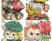 Vintage Greeting Card Easter No. 9 Vintage Easter Greeting Cards - Digital Collage Sheet