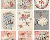 Vintage Greeting Card Bridal Shower No. 1 (of 1) Vintage Wedding Cards - Digital Collage Sheet INSTANT DOWNLOAD