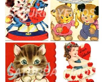 """Vintage Greeting Card """"Vintage Valentines"""" Digital Collage Sheet  No. 2 (of 24) Vintage Greeting Cards INSTANT DOWNLOAD"""