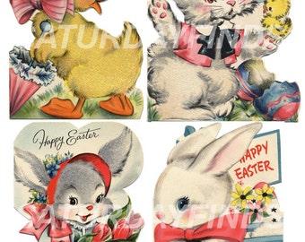 Vintage Greeting Card Easter No. 7  Vintage Easter Bunnies - Digital Collage Sheet INSTANT DOWNLOAD