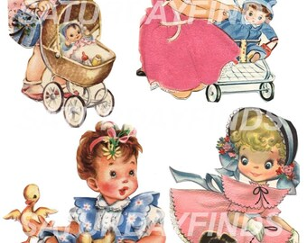 Sweet Little Girl Cut Outs Vintage Children's Greeting Cards - Digital Collage