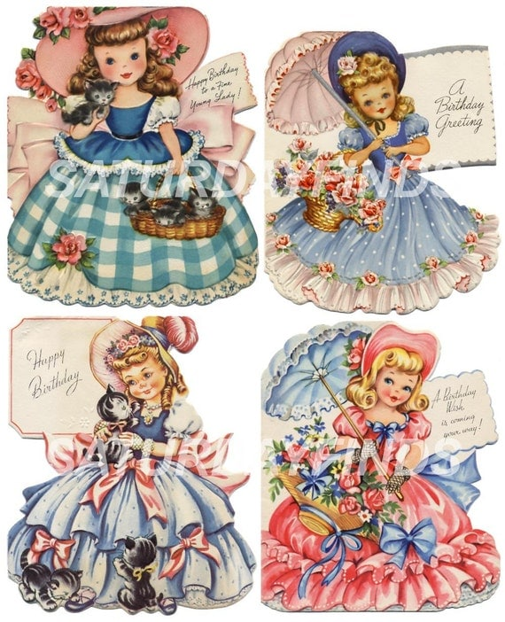 Images Of Vintage Girls First Birthday Card: Whimsical Birthday Girl VInTaGe GReeTINg CaRdS