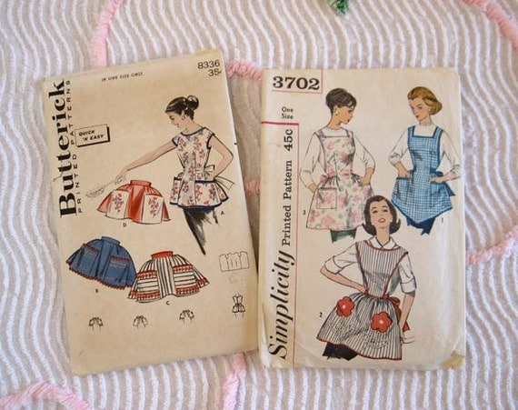 2 - Apron Patterns Simplicity 3702 Vintage Sewing Pattern Butterick 8336 Aprons Misses Women's
