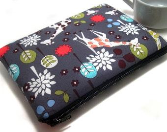 iPad Mini Case, iPad Mini Sleeve, Samsung Galaxy Tab Case, Amazon Fire HD Case, Amazon Fire Kids, Padded Zipper Case, Cute Giraffe Fabric