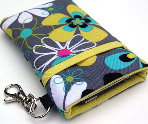 Fabric iPhone 4 Sleeve / iPhone 5 Sleeve with Front Slip Pocket in Gray Yellow and Teal Floral