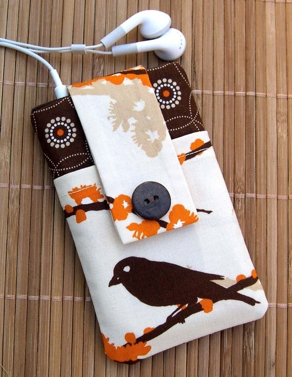 PADDED POUCH for  iPhone\/iPod, Blackberry, Palm and LG devices in Orange Blossom and Sparrow fabric