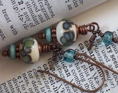 Lampwork Copper Earrings in Ivory, Sea Green, Denim Blue and Turquoise