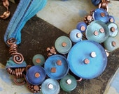 Button Necklace Blue Recycled Glass Azure Blue, Sea Green with Antiqued Copper and Silk Ribbon