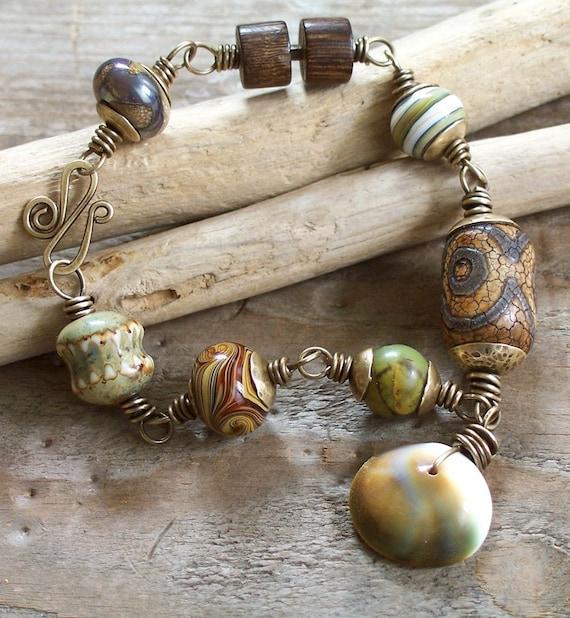 Desert Bounty Bracelet with Lampwork, Porcelain and Gemstones