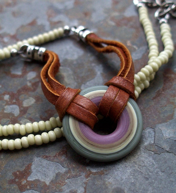 Donut Pendant Southwest Lilac, Sage, Olive, Pale Yellow Lampwork and Cinnamon Leather