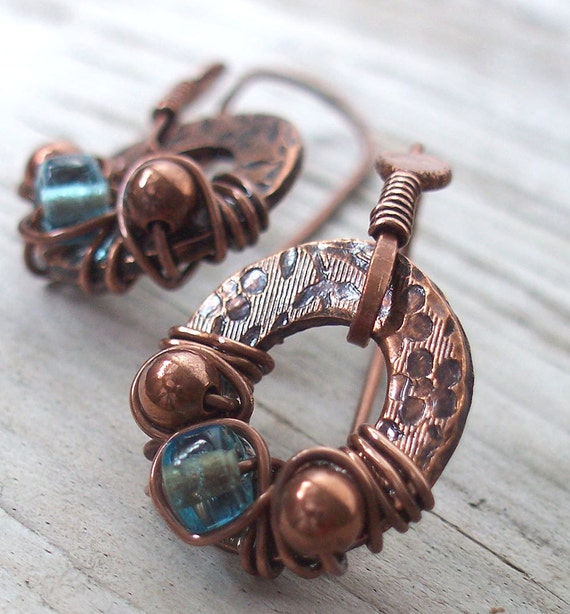 Earrings Copper Aqua Glass with Floral Stamping