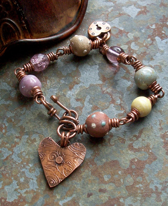 Bracelet Copper Heart Charm Lilac Lavender Ceramic Beads Multicolor