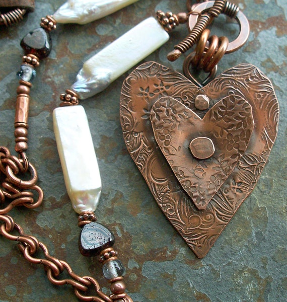Pendant Heart Copper Metalwork, with White Stick Pearls, Garnets, Periwinkle Glass and Cocoa Leather