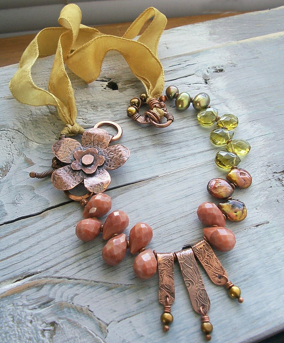 Flower Necklace BEAD TRENDS Copper Metalwork with Bronze Pearls Khaki Olive Glass Peach Aventurine and Mustard Silk Ribbon