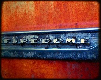 Desmond's Firedome - Rusty Old Car Emblem - Fine Art Photography