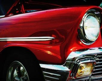 1956 Red Chevy Belair - Classic Car - Garage Art - Pop Art - Fine Art Photograph