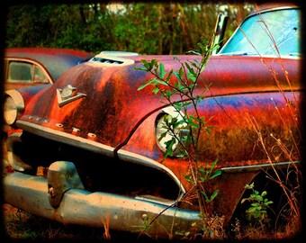Desmond at the Starting Line - Rusty Car - Desoto - Fine Art Photograph by Kelly Warren