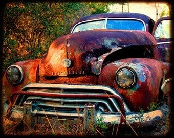 Miss Jasmine Take One - Rusty Old Car - Oldsmobile - Fine Art Photograph by Kelly Warren