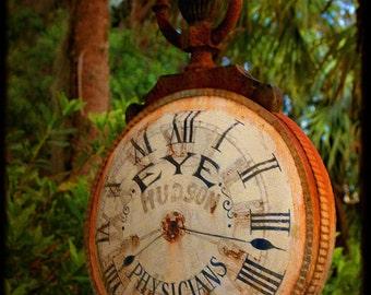 Watching Melrose - Clock Photograph - Rusty Clock - Fine Art Photograph by Kelly Warren