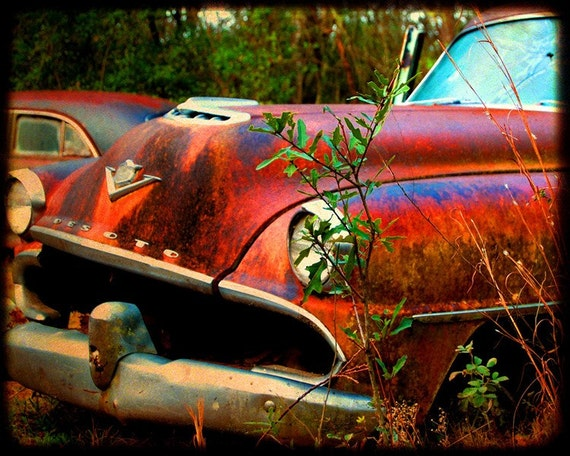 Desmond at the Starting Line - Rusty Car - Desoto - Fine Art Photograph by Kelly Warren